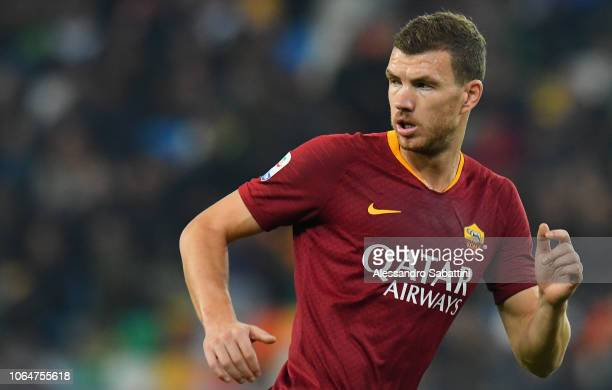 Edin Dzeko of AS Roma looks on during the Serie A match between Udinese and AS Roma at Stadio Friuli on November 24 2018 in Udine Italy