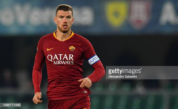 Edin Dzeko of AS Roma looks on during the Serie A match between Chievo Verona and AS Roma at Stadio Marc'Antonio Bentegodi on February 8 2019 in...