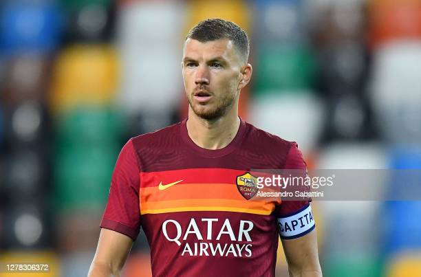 Edin Dzeko of AS Roma looks on during the Serie A match between Udinese Calcio and AS Roma at Dacia Arena on October 03, 2020 in Udine, Italy.
