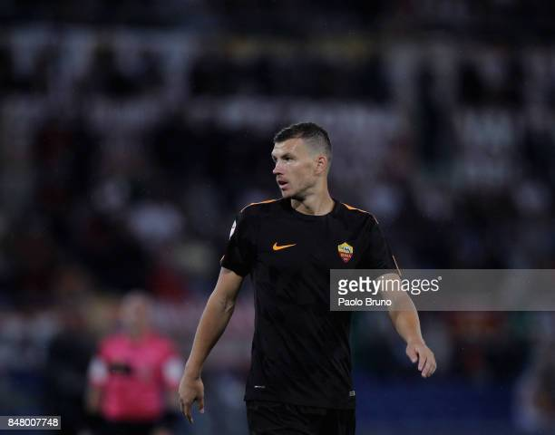 Edin Dzeko of AS Roma looks on during the Serie A match between AS Roma and Hellas Verona FC at Stadio Olimpico on September 16 2017 in Rome Italy