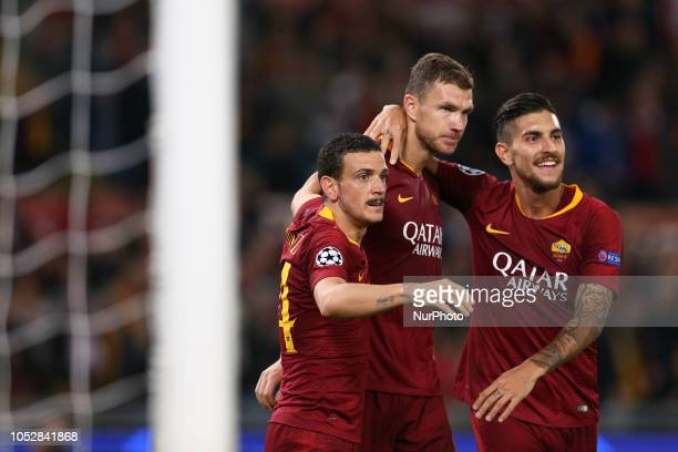 Edin Dzeko of AS Roma Lorenzo Pellegrini of AS Roma Alessandro Florenzi of AS Roma celebrate the goal of 20 during the UEFA Champions League group G...