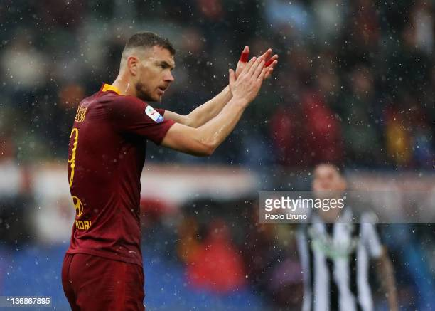 Edin Dzeko of AS Roma reacts during the Serie A match between AS Roma and Udinese at Stadio Olimpico on April 13, 2019 in Rome, Italy.