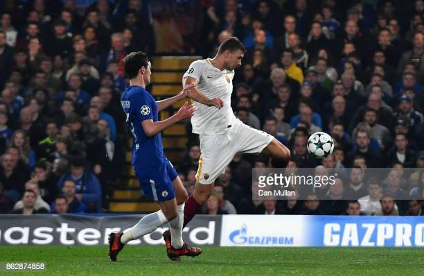 Edin Dzeko of AS Roma scores his sides second goal during the UEFA Champions League group C match between Chelsea FC and AS Roma at Stamford Bridge...