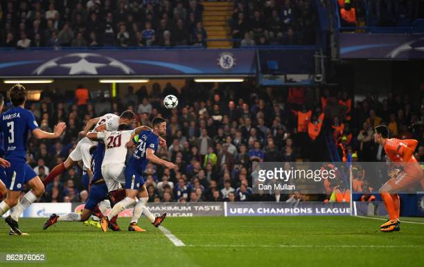 Edin Dzeko of AS Roma scores his sides third goal during the UEFA Champions League group C match between Chelsea FC and AS Roma at Stamford Bridge on...