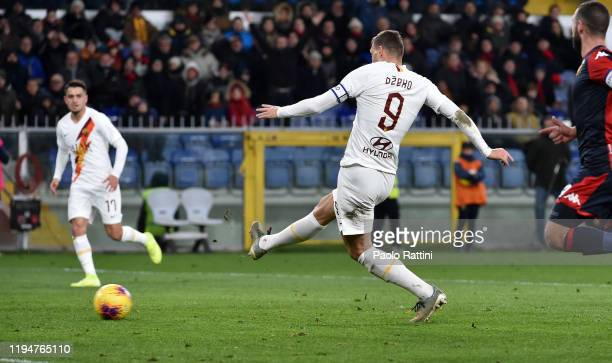 Edin Dzeko of AS Roma scoring the goal 13 during the Serie A match between Genoa CFC and AS Roma at Stadio Luigi Ferraris on January 19 2020 in Genoa...