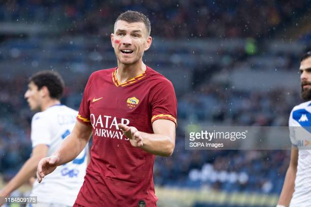 Edin Dzeko of AS Roma seen in action during the Italian Serie A football match between AS Roma and Brescia at the Olympic Stadium in Rome