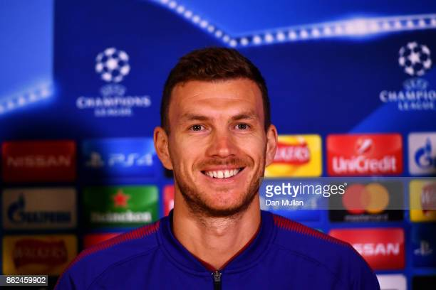 Edin Dzeko of AS Roma speaks to the media during the AS Roma press conference prior to the UEFA Champions League group C match against Chelsea at...