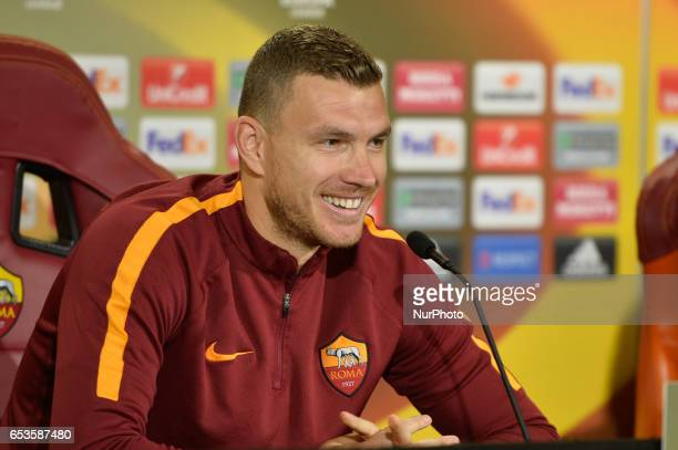 Edin Dzeko of AS Roms attends a press conference at Centro Sportivo Fulvio Bernardini on March 15 2017 in Rome Italy