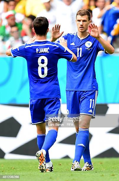 Edin Dzeko of Bosnia and Herzegovina celebrates scoring his team's first goal with his teammates Miralem Pjanic during the 2014 FIFA World Cup Brazil...