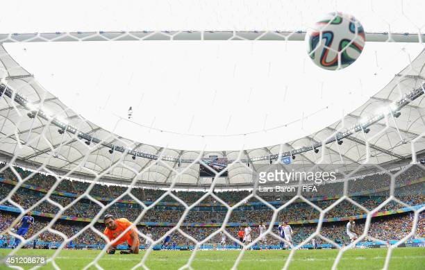 Edin Dzeko of Bosnia and Herzegovina celebrates scoring his team's first goal past Alireza Haghighi of Iran during the 2014 FIFA World Cup Brazil...