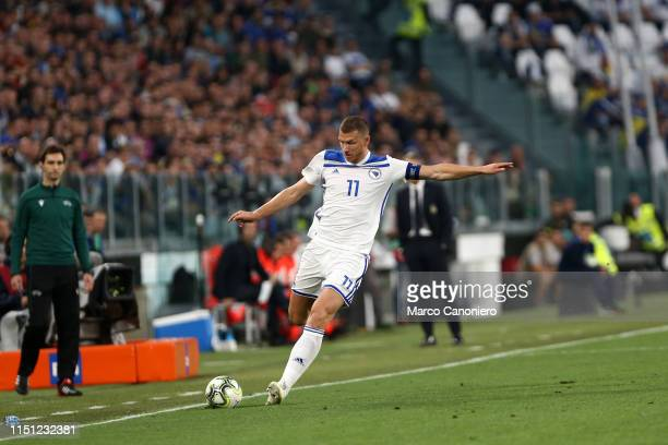 Edin Dzeko of Bosnia and Herzegovina in action during the 2020 UEFA European Championships group J qualifying match between Italy and Bosnia and...