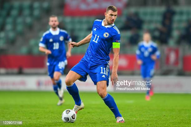 Edin Dzeko of Bosnia and Herzegovina in action during the UEFA Nations League group stage match between Poland and Bosnia-Herzegovina at Stadion...