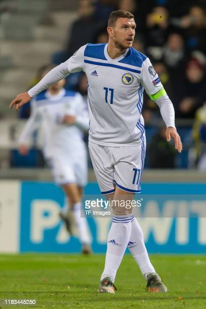 Edin Dzeko of Bosnia and Herzegovina looks on during the UEFA Euro 2020 Qualifier between Liechtenstein and Bosnia and Herzegovina on November 18...