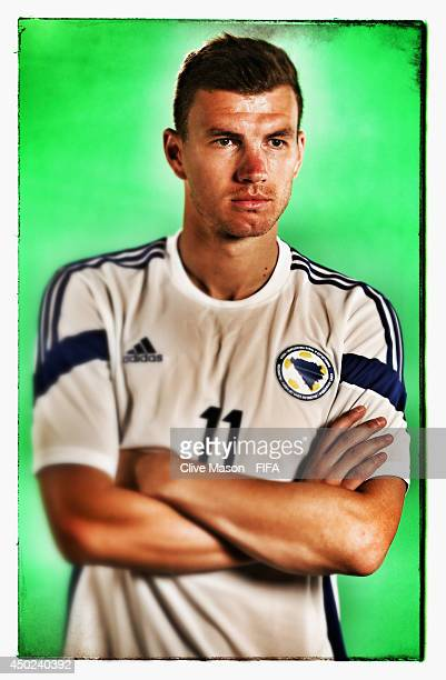 Edin Dzeko of Bosnia and Herzegovina poses during the official FIFA World Cup 2014 portrait session on June 7 2014 in Sao Paulo Brazil