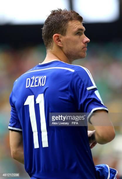 Edin Dzeko of Bosnia and Herzegovina reacts during the 2014 FIFA World Cup Brazil Group F match between BosniaHerzegovina and Iran at Arena Fonte...