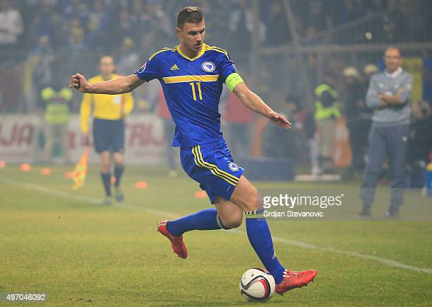 HERZEGOVINA NOVEMBER 13 Edin Dzeko of Bosnia in action during the EURO 2016 Qualifier PlayOff First Leg match at Bilino Polje Stadium on November 13...