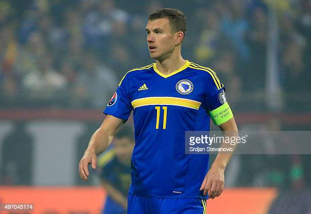 HERZEGOVINA NOVEMBER 13 Edin Dzeko of Bosnia looks on during the EURO 2016 Qualifier PlayOff First Leg match at Bilino Polje Stadium on November 13...
