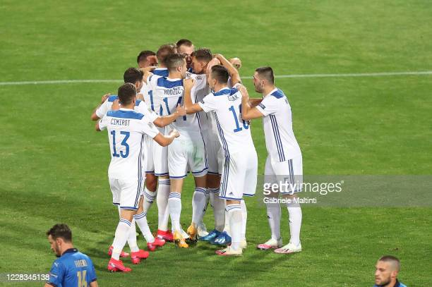 Edin Dzeko of Bosnia-Herzegovina celebrates after scoring a goal during the UEFA Nations League group stage match between Italy and Bosnia and...