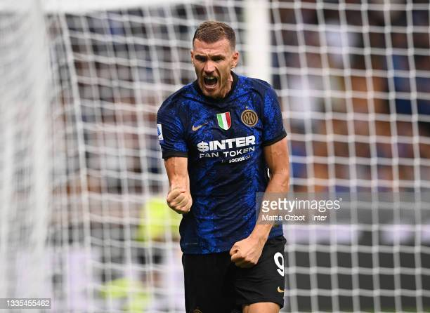 Edin Dzeko of FC Internazionale celebrates after scoring the fourth goal during the Serie A match between FC Internazionale v Genoa CFC at Stadio...