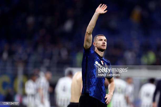 Edin Dzeko of Fc Internazionale greets the fans at the end of the Serie A match between Fc Internazionale and Juventus Fc. The match ends in a tie...