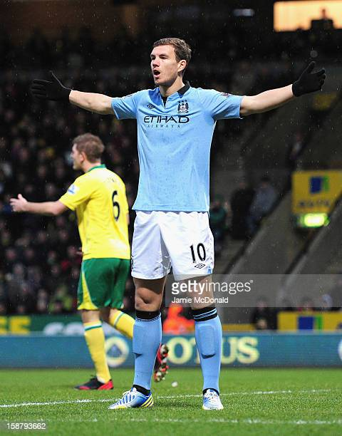 Edin Dzeko of Manchester City celebrates scoring the opening goal during the Barclays Premier League match between Norwich City and Manchester City...