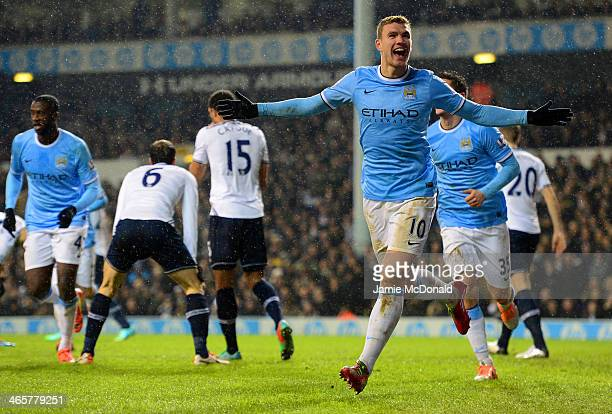 Edin Dzeko of Manchester City celebrates scoroing their third goal during the Barclays Premier League match between Tottenham Hotspur and Manchester...