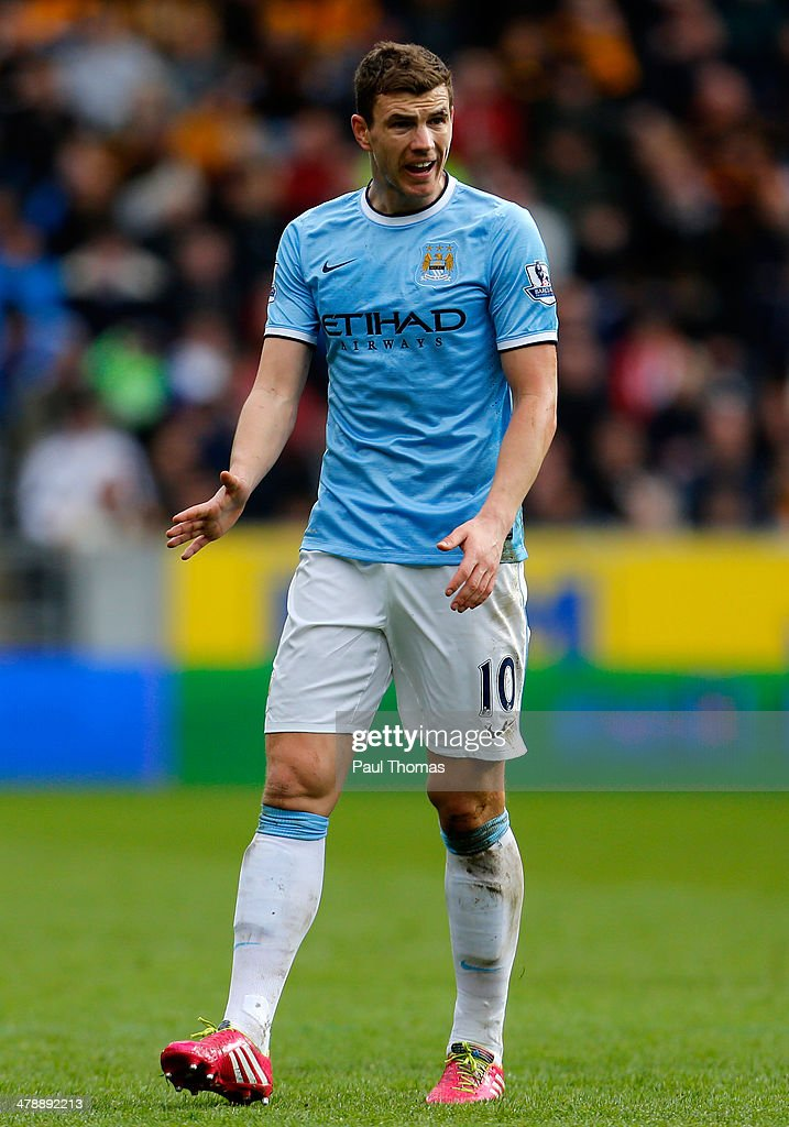 Edin Dzeko of Manchester City in gestures during the Barclays Premier League match between Hull City and Manchester City at the KC Stadium on March 15, 2014 in Hull, England.