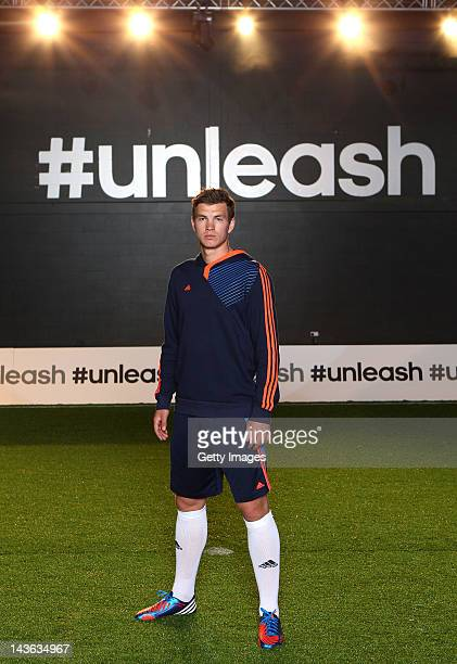 Edin Dzeko of Manchester City poses for a portrait at the launch of the new adidas Predator Lethal Zones football boot The boot designed with five...