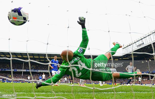 Edin Dzeko of Manchester City scores his team's second goal past Tim Howard of Everton during the Barclays Premier League match between Everton and...