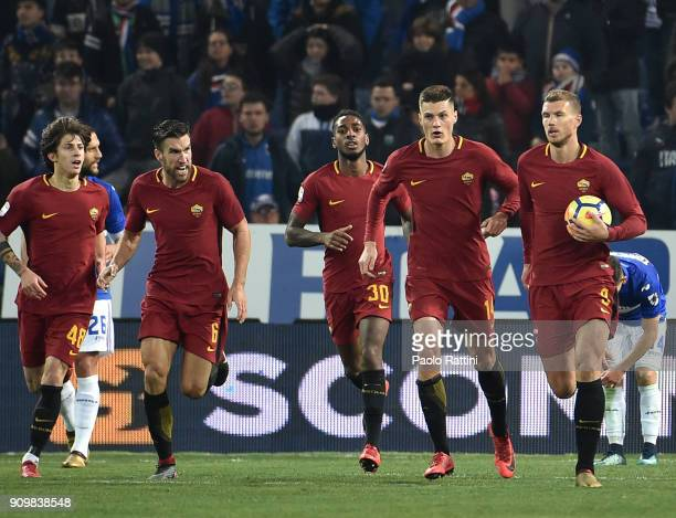 Edin Dzeko of Roma celebrates after goal 11 during the Serie A match between UC Sampdoria and AS Roma on January 24 2018 in Genoa Italy