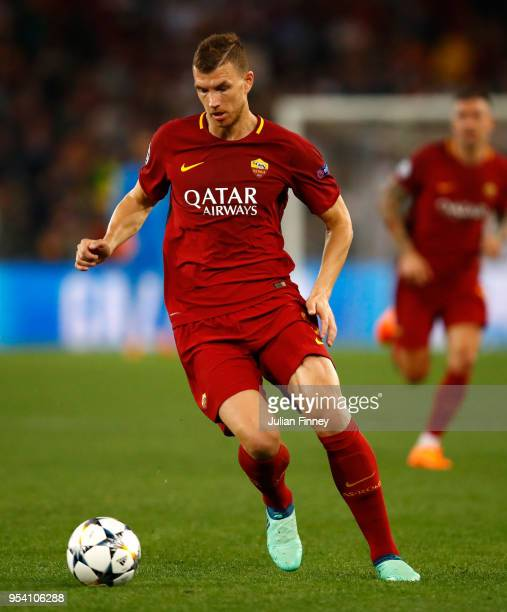 Edin Dzeko of Roma in action during the UEFA Champions League Semi Final Second Leg match between AS Roma and Liverpool at Stadio Olimpico on May 2...