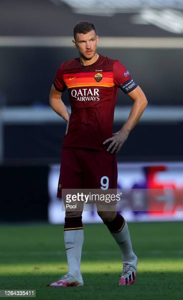 Edin Dzeko of Roma reacts after conceding their second goal during the UEFA Europa League round of 16 single-leg match between Sevilla FC and AS Roma...