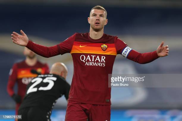 Edin Dzeko of Roma reacts during the Serie A match between SS Lazio and AS Roma at Stadio Olimpico on January 15, 2021 in Rome, Italy.