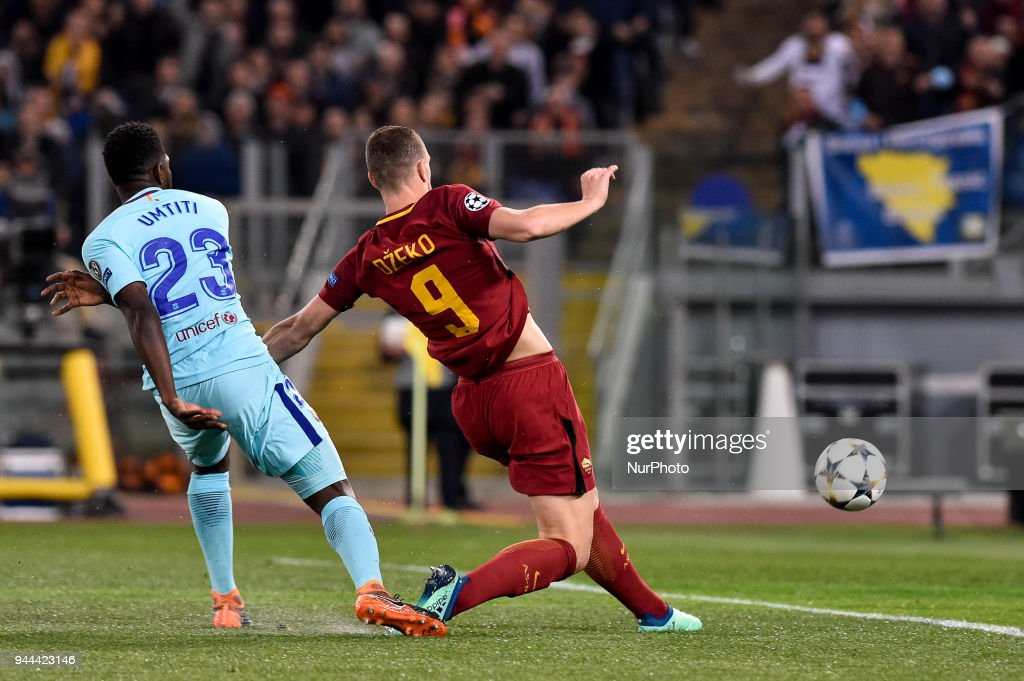 Edin Dzeko of Roma scores first goal during the UEFA Champions League Quarter Final match between Roma and FC Barcelona at Stadio Olimpico, Rome, Italy on 10 April 2018.