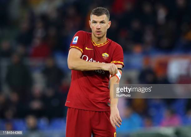 Edin Dzeko of Roma taking the captain's armband during the Serie A match AS Roma v Brescia Fc at the Olimpico Stadium in Rome Italy on November 24...