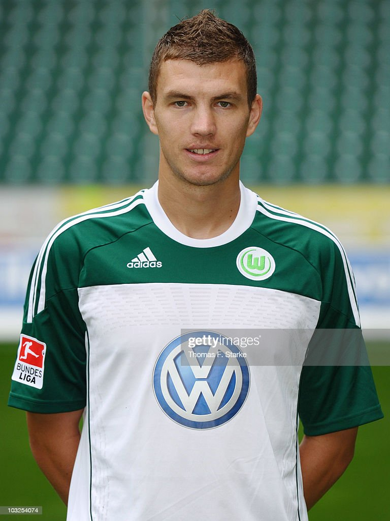 Edin Dzeko poses during the VfL Wolfsburg Team Presentation at the Volkswagen Arena on August 5, 2010 in Wolfsburg, Germany.