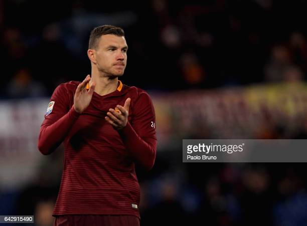Edin Dzeko reacts during the Serie A match between AS Roma and FC Torino at Stadio Olimpico on February 19 2017 in Rome Italy