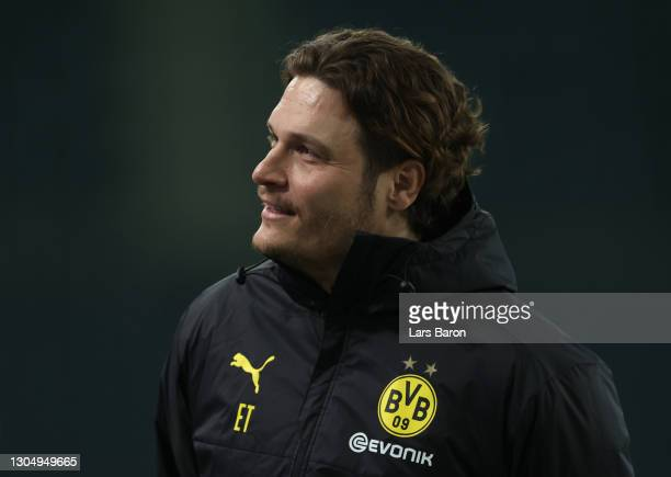 Edin Terzić, Manager of Borussia Dortmund looks on ahead of the DFB Cup quarter final match between Borussia Mönchengladbach and Borussia Dortmund at...