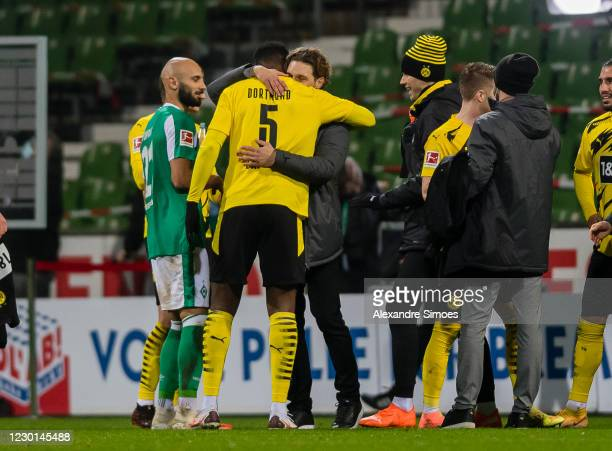 Edin Terzic, head coach of Borussia Dortmund, celebrates after the final whistle during the Bundesliga match between SV Werder Bremen and Borussia...