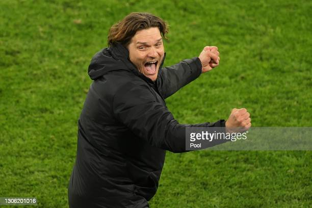 Edin Terzic, Head Coach of Borussia Dortmund celebrates his side's victory after the UEFA Champions League Round of 16 match between Borussia...