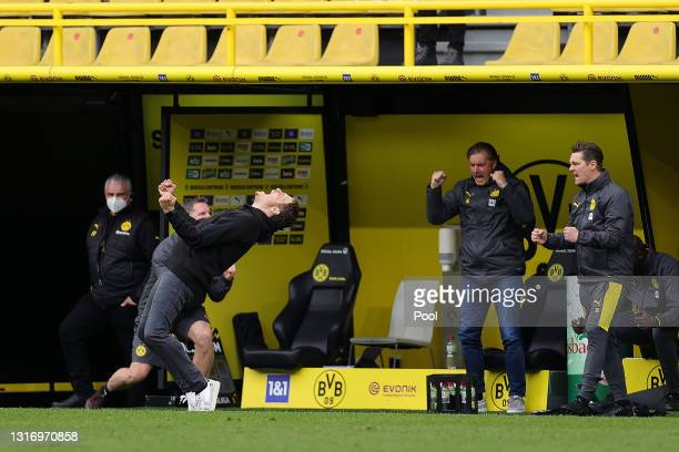 Edin Terzic, Head Coach of Borussia Dortmund celebrates his side's victory after the Bundesliga match between Borussia Dortmund and RB Leipzig at...