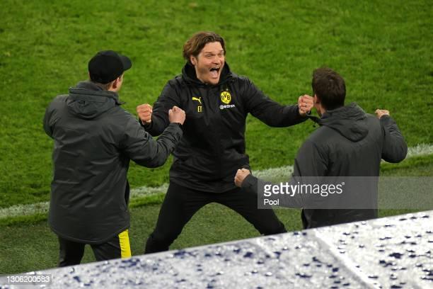 Edin Terzic, Head Coach of Borussia Dortmund celebrates victory after the UEFA Champions League Round of 16 match between Borussia Dortmund and...