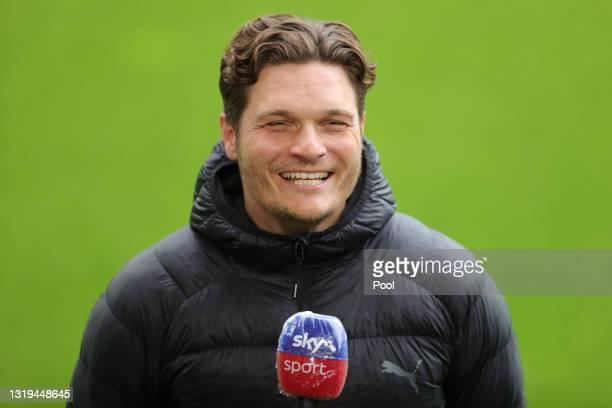 Edin Terzic, Head Coach of Borussia Dortmund is interviewed by the media ahead of the Bundesliga match between Borussia Dortmund and Bayer 04...