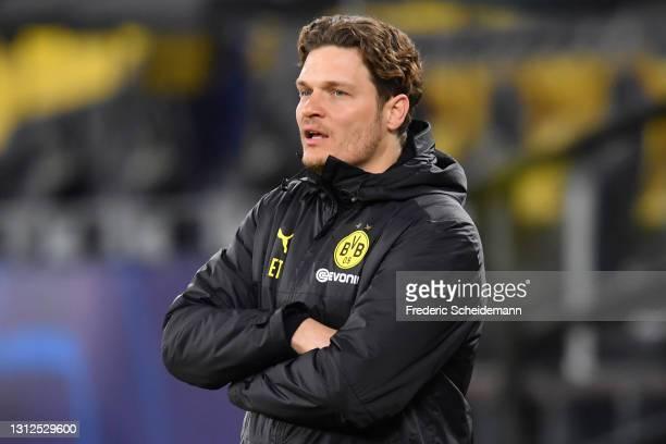 Edin Terzic, Head Coach of Borussia Dortmund looks on during the UEFA Champions League Quarter Final Second Leg match between Borussia Dortmund and...