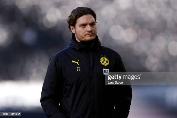 Edin Terzic, Head Coach of Borussia Dortmund looks on prior to the Bundesliga match between Borussia Dortmund and TSG Hoffenheim at Signal Iduna Park...