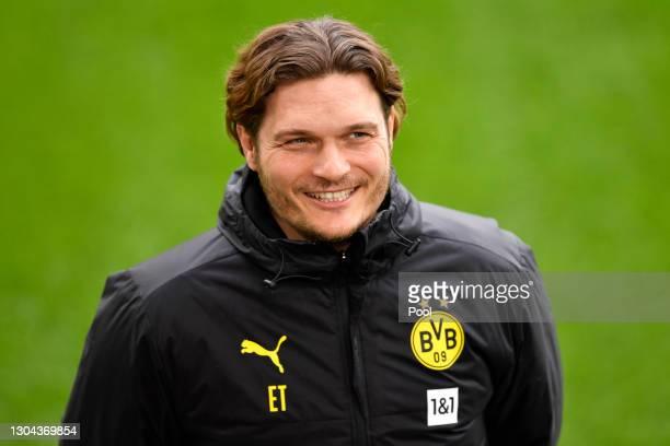 Edin Terzic, Head Coach of Borussia Dortmund looks on prior to the Bundesliga match between Borussia Dortmund and DSC Arminia Bielefeld at Signal...