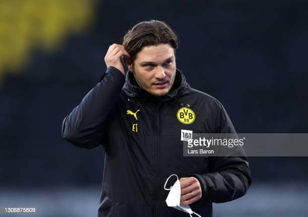 Edin Terzic, Head Coach of Borussia Dortmund looks on prior to the Bundesliga match between Borussia Dortmund and Hertha BSC at Signal Iduna Park on...