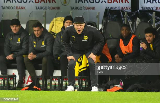 Edin Terzic, Head Coach of Borussia Dortmund shouts instructions during the DFB Cup Round of Sixteen match between Borussia Dortmund and SC Paderborn...