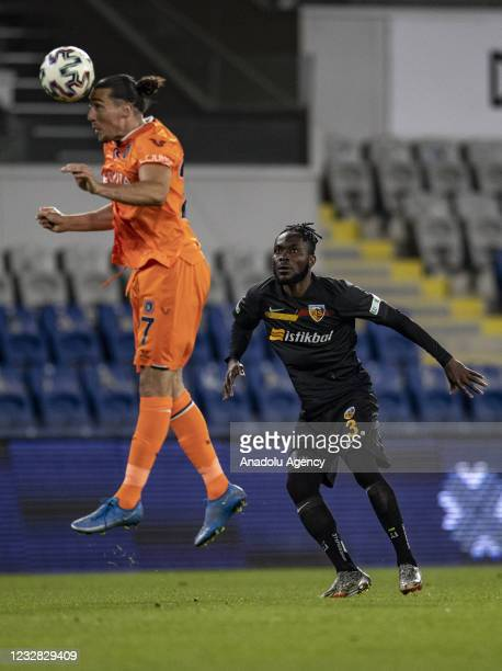 Edin Vidca of Medipol Basaksehir in action against Joseph Attamah of Hes Kablo Kayserispor during Turkish Super Lig week 41 soccer match between...