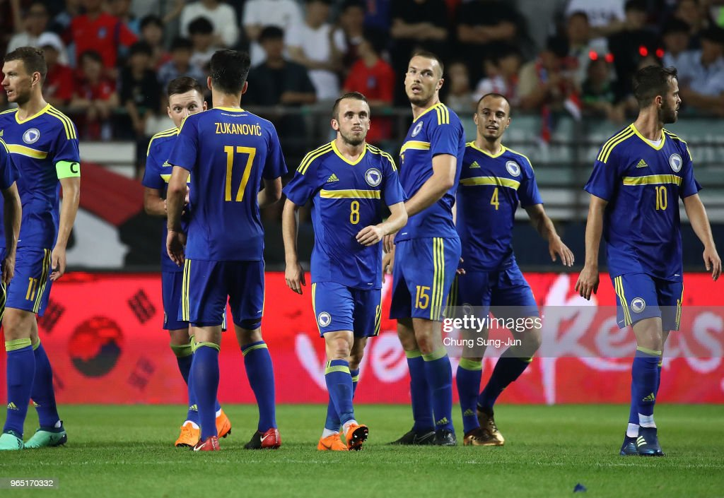 Edin Visca of Bosnia & Herzegovina celebrates after scoring a second goal during the international friendly match between South Korea and Bosnia & Herzegovina at Jeonju World Cup Stadium on June 1, 2018 in Jeonju, South Korea.